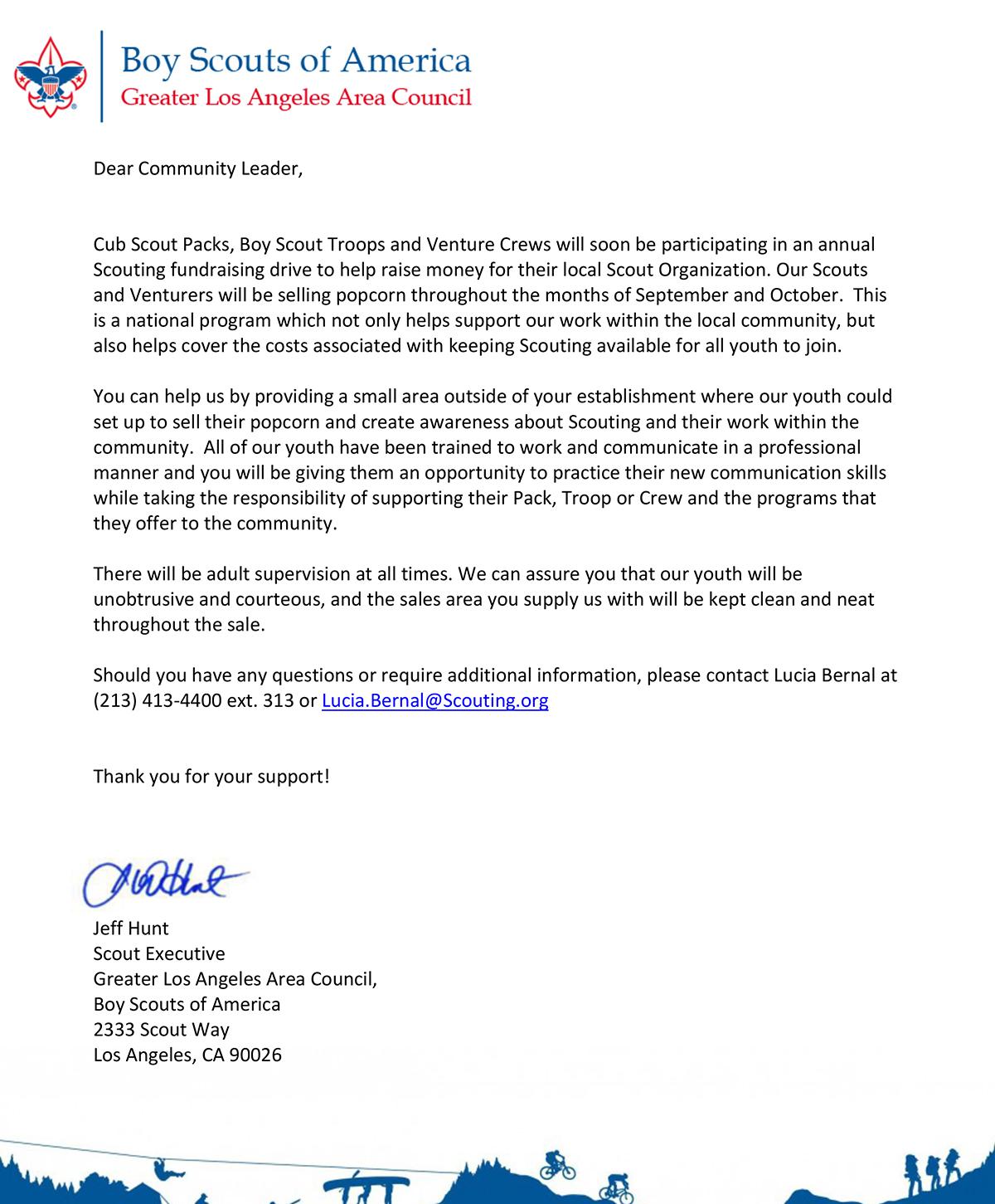 Eagle Scout Donation Letter Example Wel E Bag Letter Template Collection. popcorn community letter